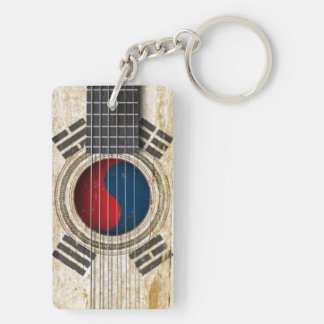 Old Acoustic Guitar with South Korean Flag Key Chains