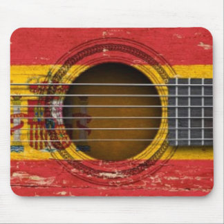 Old Acoustic Guitar with Spanish Flag Mouse Pad
