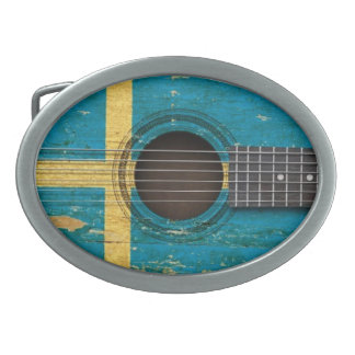 Old Acoustic Guitar with Swedish Flag Belt Buckles