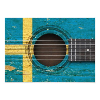 Old Acoustic Guitar with Swedish Flag Personalized Announcements