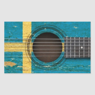 Old Acoustic Guitar with Swedish Flag Rectangular Sticker