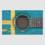 Old Acoustic Guitar with Swedish Flag Rectangular Stickers