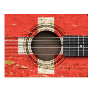 Old Acoustic Guitar with Swiss Flag Postcard