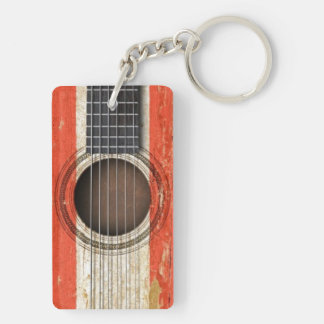 Old Acoustic Guitar with Tahitian Flag Keychain