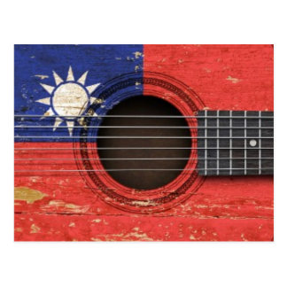 Old Acoustic Guitar with Taiwanese Flag Postcard