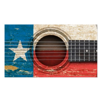 Old Acoustic Guitar with Texas Flag Business Card