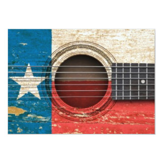 Old Acoustic Guitar with Texas Flag Custom Invitations