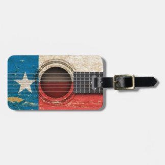 Old Acoustic Guitar with Texas Flag Tag For Bags
