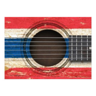 Old Acoustic Guitar with Thai Flag Invitations