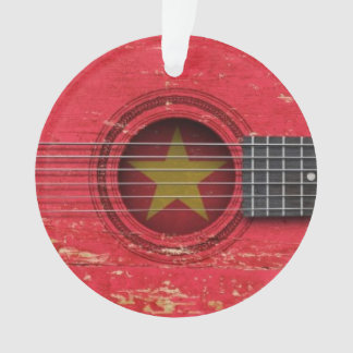 Old Acoustic Guitar with Vietnamese Flag
