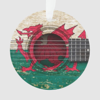 Old Acoustic Guitar with Welsh Flag
