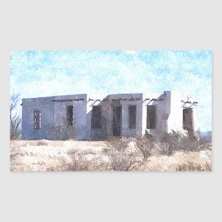 Old Adobe in Watercolor Rectangular Sticker