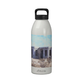 Old Adobe in Watercolor Reusable Water Bottles