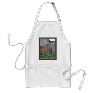 Old Adobe Wall with Blue Door Adult Apron