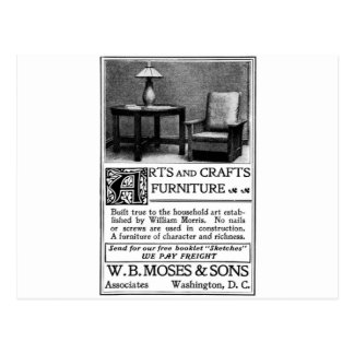 Old Advert Arts and Crafts Furniture Postcard