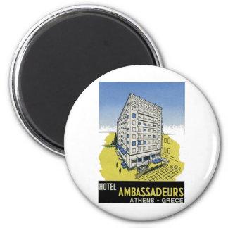Old Advert Athens Greece Hotel Ambassadeurs Magnet