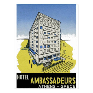 Old Advert Athens Greece Hotel Ambassadeurs Post Card