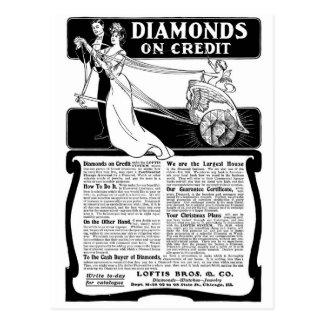 Old Advert Diamonds on Credit Postcard