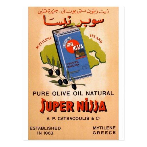 Old Advert Greece Mytilene Lesvos Olive Oil Postcard