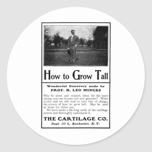 Old Advert How to Grow Tall Round Sticker