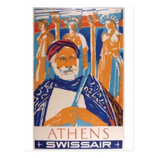 Old Advert Swissair Greece Postcard