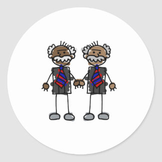 Old African Couple Classic Round Sticker