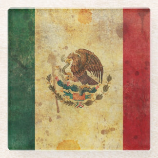 Old, Aged And Worn Grunge Flag Of Mexico Glass Coaster