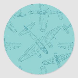 Old airplanes classic round sticker