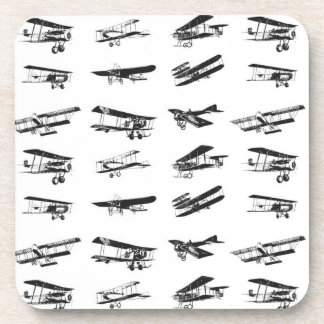 Old airplanes in black and white, vintage aircraft drink coaster