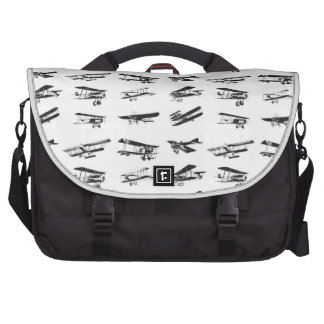Old airplanes in black and white, vintage aircraft laptop bag