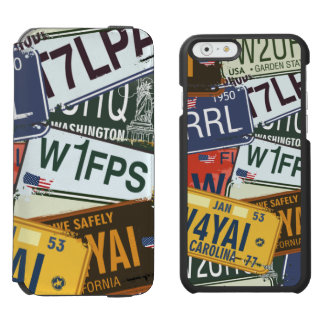 Old American Car Licence Plates iPhone 6/6s Wallet Case