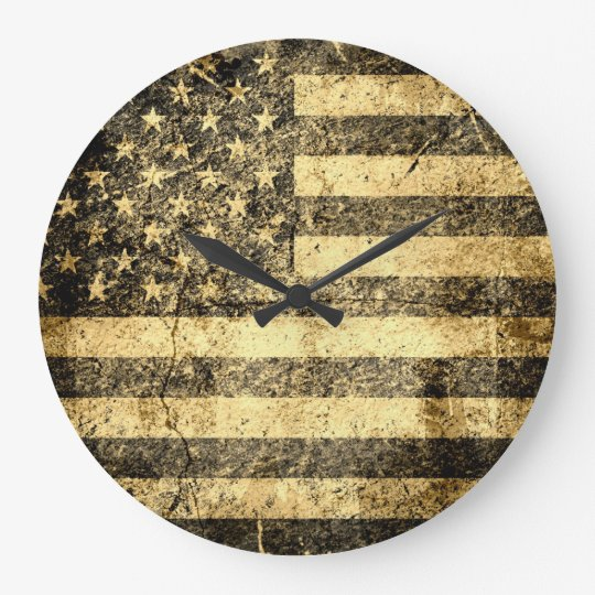 Old American Flag Grunge 2 Large Clock