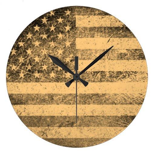 Old American Flag Grunge Clocks