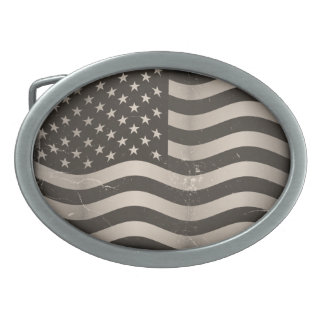 Old American Flag Oval Belt Buckle