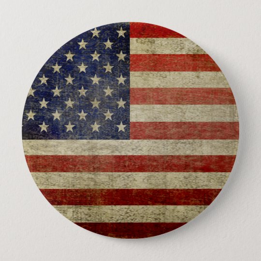 Old American Flag Pinback Button