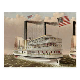 Old American Steamboat Postcard