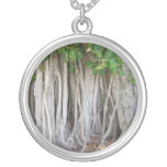 Old ancient ficus tree roots background picture personalized necklace