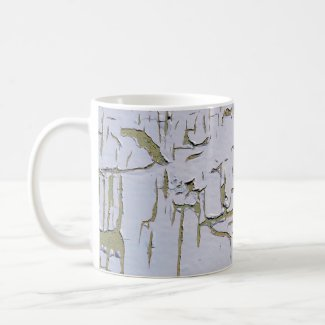 Old and cracked paint on coffee mug