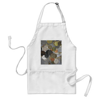 Old and international coins adult apron