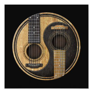 Old and Worn Acoustic Guitars Yin Yang Card