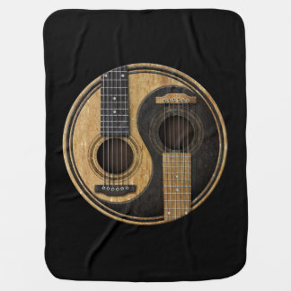 Old and Worn Acoustic Guitars Yin Yang Receiving Blanket