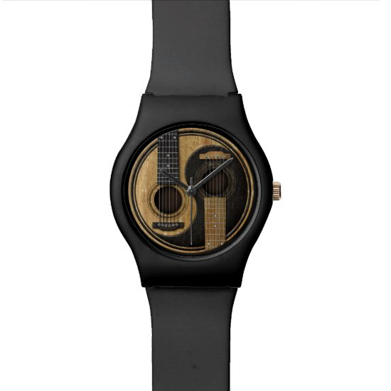 Old and Worn Acoustic Guitars Yin Yang Wristwatch