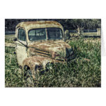 Old Antique Beater Truck in Grass Greeting Cards