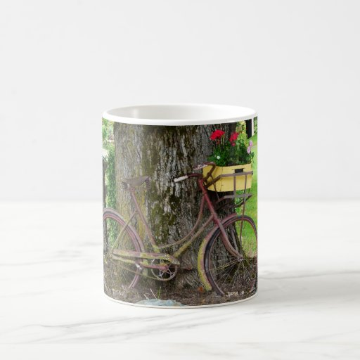 Old Antique Bicycle with Flower Basket Coffee Mug