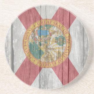 Old antique faded wood Florida Flag Drink Coaster
