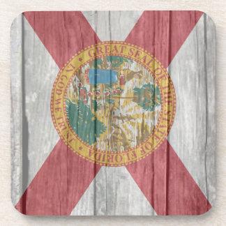 Old antique faded wood Florida Flag Beverage Coasters