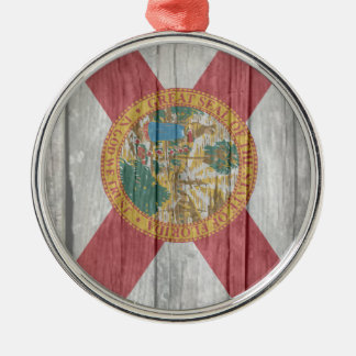 Old antique faded wood Florida Flag Metal Ornament