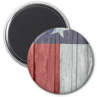 Old antique faded wood Texas Flag 2 Inch Round Magnet