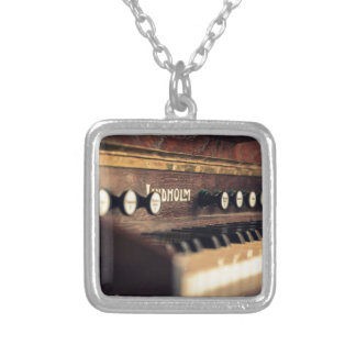 Old Antique Keyboard Piano Keys Instrument Square Pendant Necklace