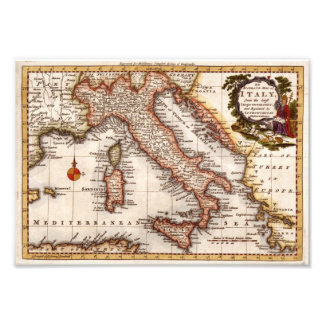 Old Antique Map of Italy replica Photo Art